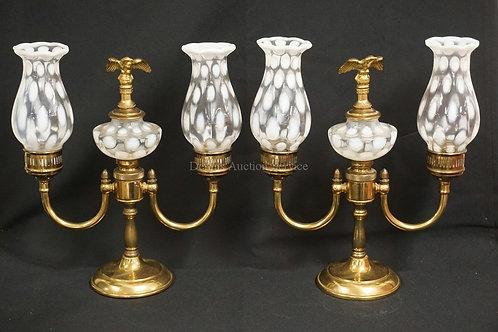PAIR OF FENTON LAMPS IN BRASS WITH OPALESCENT SHADES AND FONTS. EAGLE FINIALS. 1