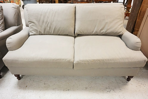 POTTERY BARN LOVESEAT IN GREY.