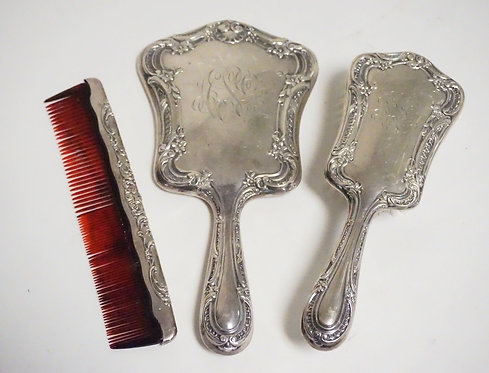 GORHAM STERLING SILVER 3 PIECE DRESSER SET. MIRROR, BRUSH, AND A COMB.
