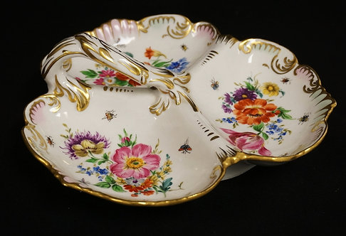 DRESDEN PORCELAIN DIVIDED DISH WITH HANDLE. HAND PAINTED FLOWERS. 10 1/4 INCH DI