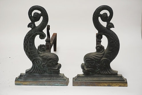 1040_PAIR OF VIRGINIA METALCRAFTERS CAST BRASS DOLPHIN ANDIRONS. 15 INCHES HIGH.