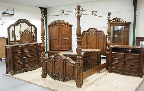 6 PIECE CARVED BEDROOM SET WITH MARBLE TOPS. QUEEN SIZE BED. ASHLEY FURNITURE.