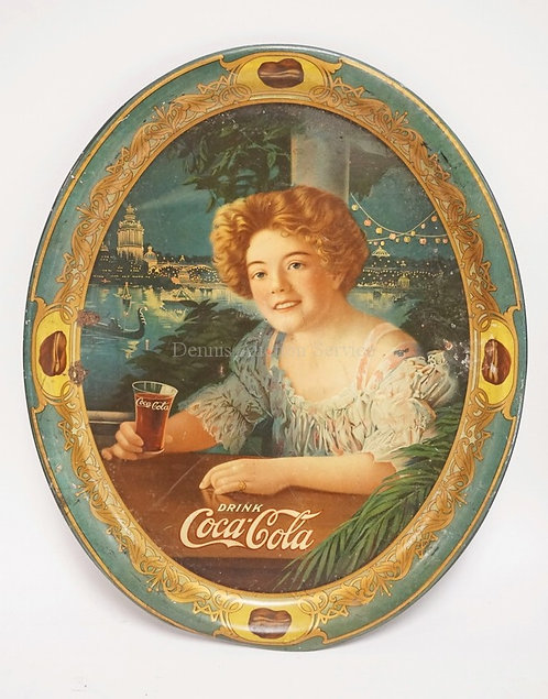 OVAL COCA COLA ADVERTISING TRAY  MEASURING 16 5/8 X 13 5/8 INCHES. SLIGHT DENT T
