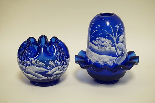 2 PC FENTON COBALT BLUE WITH HAND PAINTED WINTER SCENES, ROSE BOWL AND FAIRY LAM
