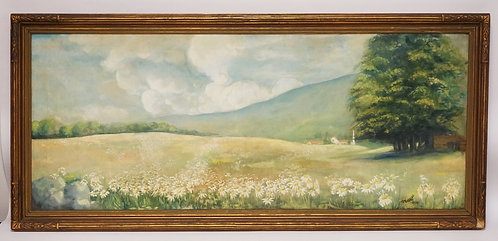 OIL PAINTING ON CANVAS OF A LANDSCAPE WITH FLOWERS IN THE FOREGROUND ALONG WITH