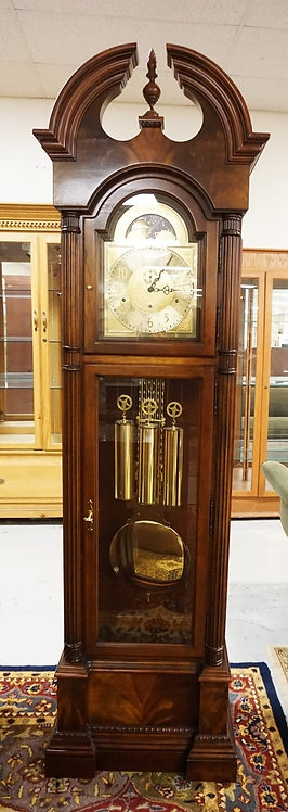 HOWARD MILLER GRANDFATHER CLOCK WITH MOON DIAL AND OPEN ARCH TOP WITH FINIAL AND