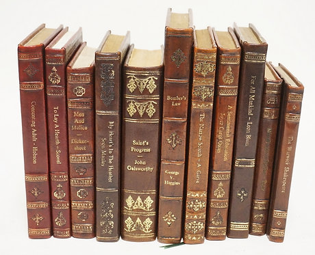 LOT OF 11 LEATHERBOUND LIBRARY BOOKS.
