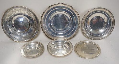 6 PIECES OF STERLING SILVER. 4 PLATES, 2 BOWLS. LARGEST MEASURES 10 1/2 INCHES.