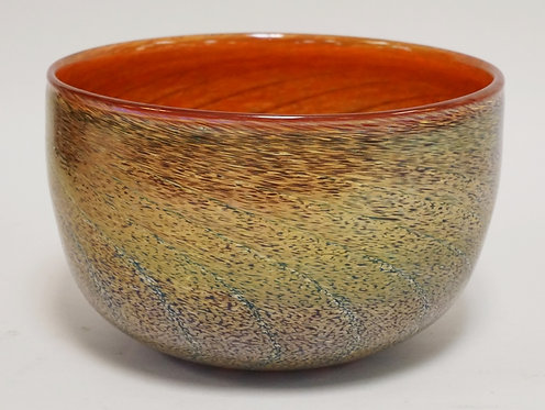 HEAVY ART GLAS BOWL WITH AN ORANGE INTERIOR, SWIRLED GOLD WITH BLUE RIBBING AND