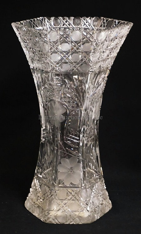LARGE, HEAVY CUT GLASS HEXAGONAL VASE WITH A HORSESHOE, FLOWER AND CANE MOTIF. 1