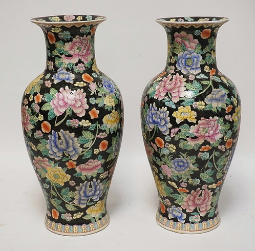 PAIR OF CHINESE PORCELAIN VASES WITH ALL OVER DECORATION OF FLOWERS. 18 1/2 INCH