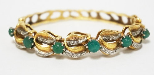 18K GOLD *CAN GOGH* BRACELET WITH 6 CABOSON EMERALDS AND 35 SMALL DIAMOND ACCENT