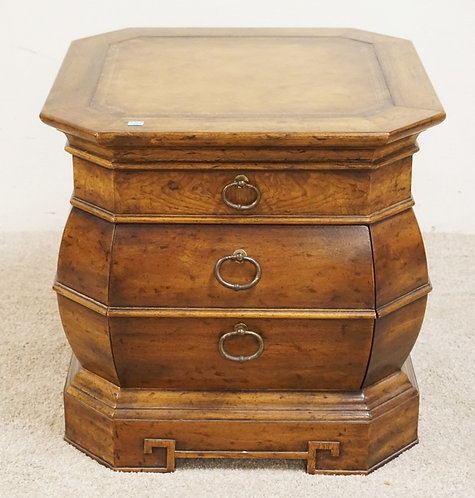 DREXEL HERITAGE 2 DRAWER STAND WITH A LEATHER TOP. 22 INCHES WIDE. 21 INCHES HIG