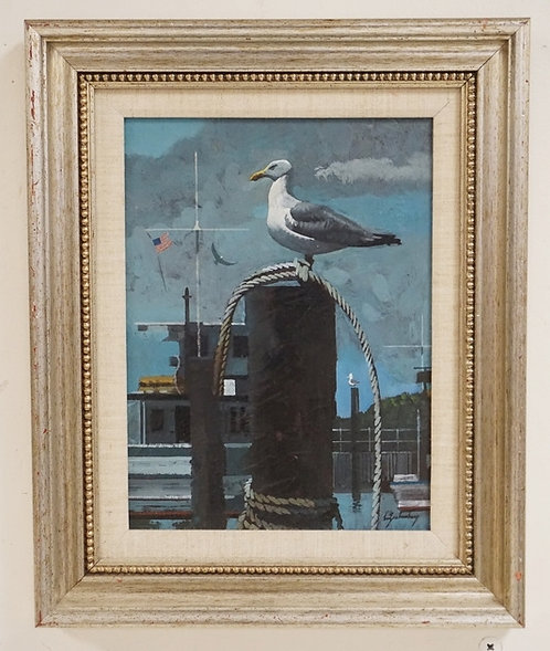 STANLEY M. ZUCKERBERG (1919-1995) OIL PAINTING ON BOARD OF A SEAGULL PERCHED ON