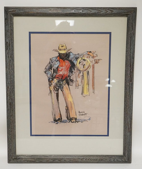 HUGH CABOT PASTEL DRAWING OF A COWBOY. 15 X 20 INCH SIGHT SIZE.