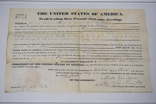1837 LAND GRANT FOR JAMES QUINN IN GREEN COUNTY OHIO SIGNED BY PRESIDENT MARTEN