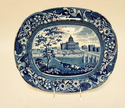 AMERICAN HISTORIC STAFFORSHIRE BLUE TRANSFERWARE PLATTER *STATE HOUSE - BOSTON*.