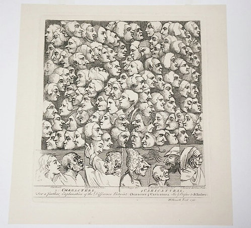 WILLIAM HOGARTH (1697-1764) CHARACTERS AND CARICATURAS. ETCHING, 230 X 207MM. TH