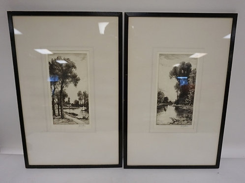 PAIR OF LANDSCAPE ETHCINGS BY JOHN FULLWOOD. IN MATCHING FRAMES.