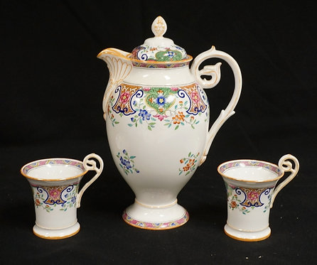 3 PIECES MINTONS PORCELAIN. THE POT HAVING A CHIP ON THE FOOT AND THE LID HAVING