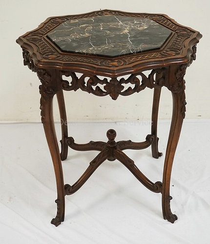 CARVED LAMP TABLE WITH AN INSET MARBLE TOP. OPENWORK CARVED SKIRT. 28 INCHES HIG