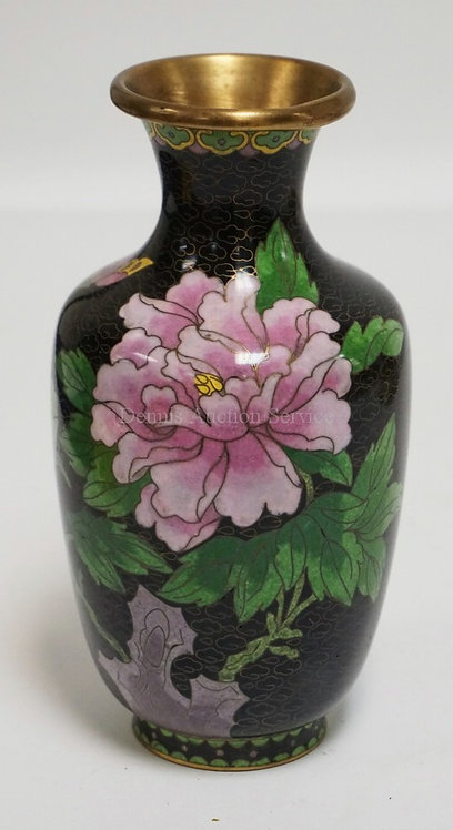 CLOISONNE VASE DECORATED WITH A BUTTERFLY AND FLOWERS. 7 1/4 INCHES HIGH. RIM HA