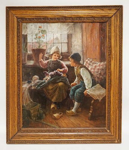 FIRTZ FIG OIL PAINTING ON CANVAS OF A GIRL REPAIRING A DOLL. TITLED *REPAIRING T