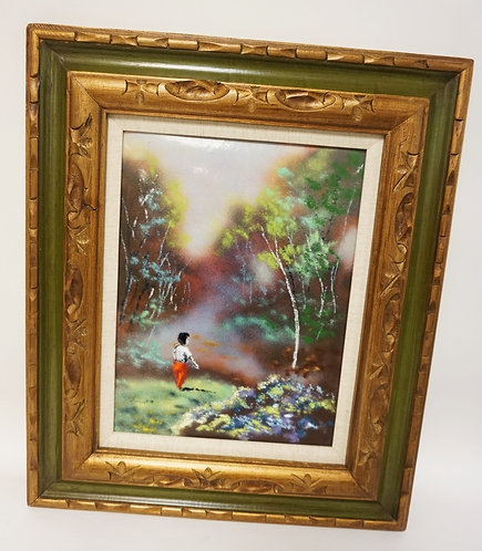 ENAMEL ON COPPER SIGNED SIMON. CHILD BY A STREAM. FRAMED, 11 3/4 IN X 15 1/2 IN