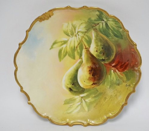 HAND PAINTED LIMOGES CHARGER DECORATED WITH PEARS AND LEAVES. ARTIST SIGNED. 12