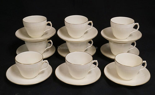 9 ROYAL COPENHAGEN CUP AND SAUCER SETS.