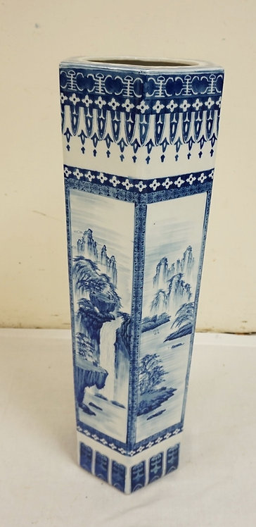 BLUE AND WHITE HEXAGONAL ASIAN FLOOR VASE. HAS A REPAIR TOP AND BOTTOM. 33 1/4 I