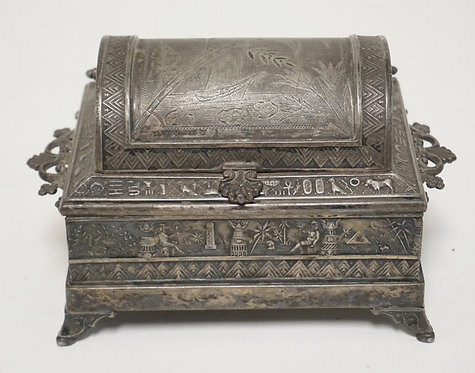 VICTORIAN SILVER PLATED JEWELRY CASKET WITH AN EGYPTIAN MOTIF. DOMICAL LIFT TOP