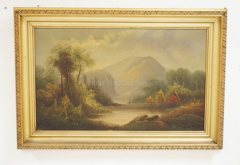 ANTIQUE OIL PAINTING ON CANVAS OF A LUSH LANDSCAPE SURROUNDING A LAKE WITH A MOU