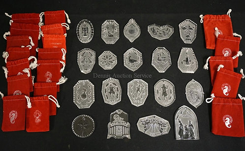 LOT OF 19 WATERFORD 12 DAYS OF CHRISTMAS ORNAMENTS. INCLUDES 1981, 1982, 1983, A