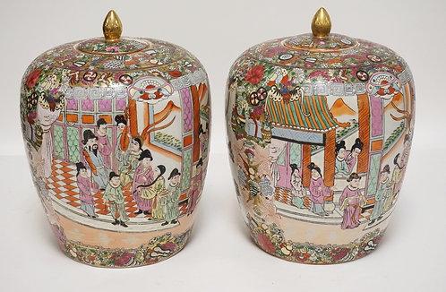 PAIR OF ASIAN PORCELAIN LIDDED JARS. DECORATION INCLUDES PEOPLE, BIRDS, DRAGONFL