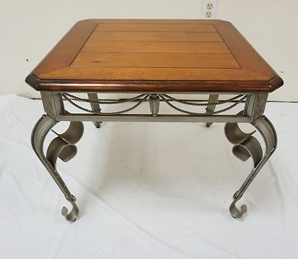 LAMP TABLE WITH FANCY IRON BASE. NEW FURNITURE LIQUIDATION. 25 3/4 IN SQUARE, 21