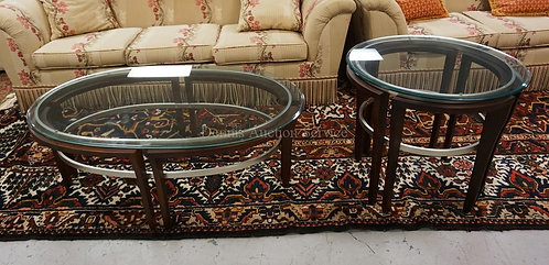 PAIR OF MODERN TABLES WITH GLASS TOPS. COFFEE TABLE AND AN END TABLE.
