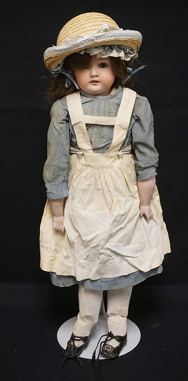 27 INCH ARMAND MARSEILLE 370 BISQUE HEAD DOLL, SHOULDER HEAD ON LEATHER BODY W/B