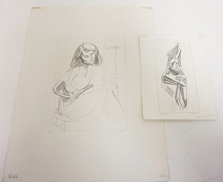 2 PRINTS BY PIERRE COURTIN. SEATED WOMAN 2 OF 25 AND *FIGURE ASSISE NO 6*, 3 OF
