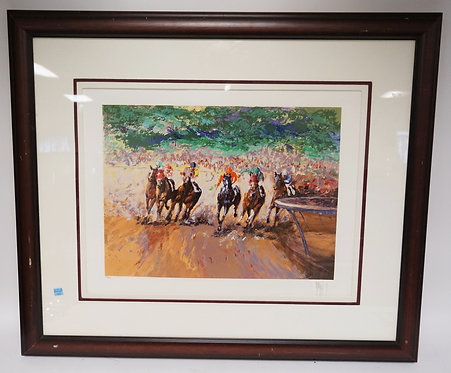 MARK KING *INTO THE STRETCH* LIMITED EDITION SERIGRAPH OF RACE HORSES. #281/295.