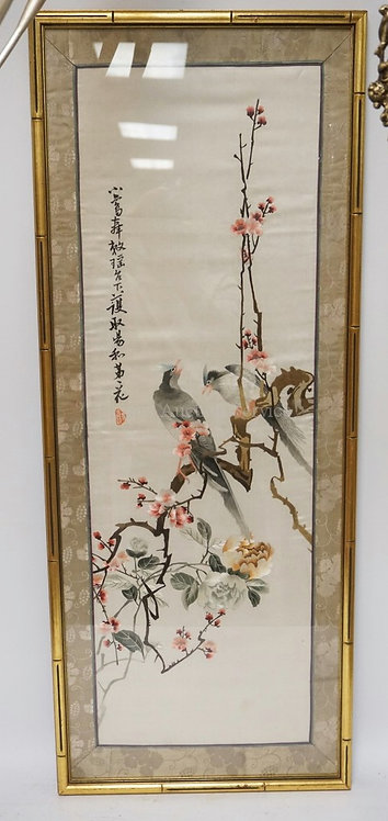 ASIAN EMBOIRDERED PICTURE OF BIRDS ON A FLOWERING BRANCH. CHARACTER SIGNED. 18 X