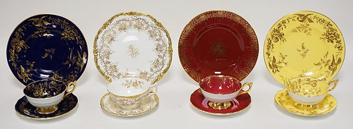 4 SETS OF COALPORT PORCELAIN TRIOS. CUPS, SAUCER, AND LUNCHEON PLATE SETS. EACH