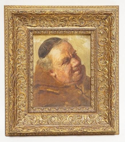 FRIEDRICH PONDEL (GERMAN, 1830-) OIL PAINTING ON BOARD OF A MONK. 4 5/8 X 6 INCH