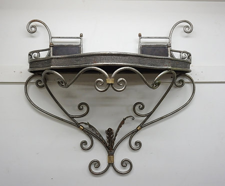 WROUGHT METAL WALL MOUNTED CONSOLE TABLE.