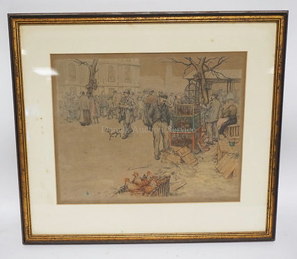 PENCIL SIGNED PRINT OF A STREET MARKET WITH CHICKENS, BIRDS, ETC. 16 X 13 INCH S