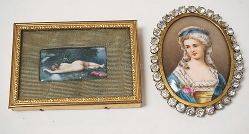 2 PIECE LOT. PORTRAIT ON PORCELAIN IN A RHINESTONE STUDDED FRAME AND A NUDE ENAM