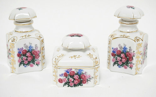 3 PIECES OF HAND PAINTED PORCELAIN. 2 SCENT BOTTLES AND A TRINKET BOX. TALLEST I