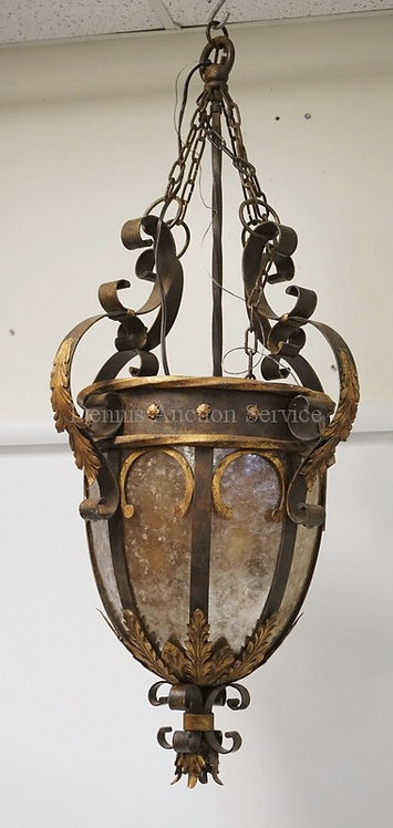 LARGE ARCHITECTURAL IRON HANGING LIGHT FIXTURE WITH MICA PANELS AND GOLD GILT AC