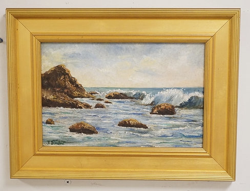 OIL PAINTING ON ARTISTS BOARD OF A SEASCAPE DEPICTING WAVES CRASHING ON A ROCKY