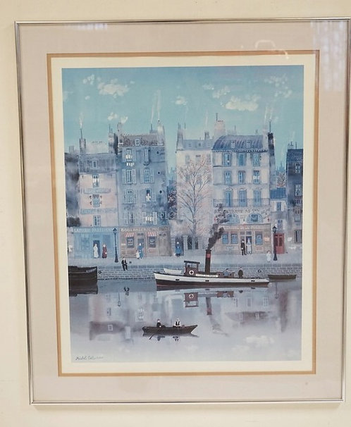 MICHEL DELACROIX PRINT OF A FRENCH CITY STREET BY THE WATER. 30 1/4 X 36 1/4 INC